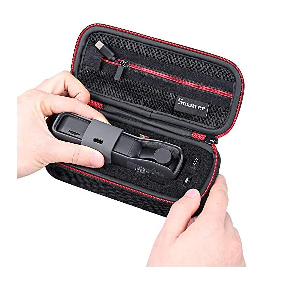 """Smatree Hard Carrying Case Compatible with DJI Osmo Pocket 2/Osmo Pocket, Extension Rod, OSMO Pocket Waterproof Case and… 4 Size: Small, Dimensions: 7.6"""" x3.5"""" x2.8"""" compact and easy to store in backpacks or carry-on luggage; recommend for traveling and home storage. Nice shaped compartments fit for osmo pocket, it can holds 1 x osmo pocket,4 x Neutral density filters,2 x SD Cards,2 x Smartphone Adapter(Refer to pictures). With comfortable hand strap for easy carrying. The hand strap can be easily attached to a belt or large bag."""