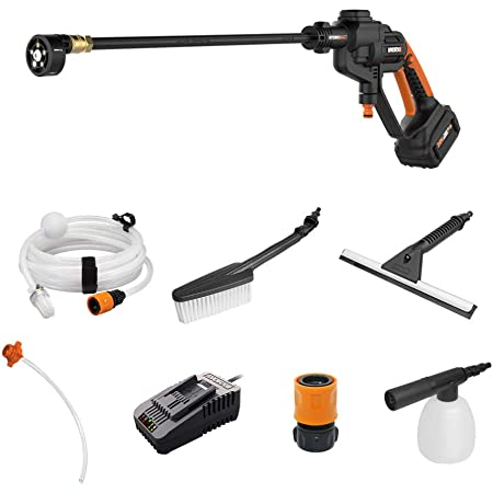 WORX WG620.1 Hydroshot 20V Power Share 4.0Ah 320 PSI Cordless Portable Power Cleaner with Cleaning Accessories