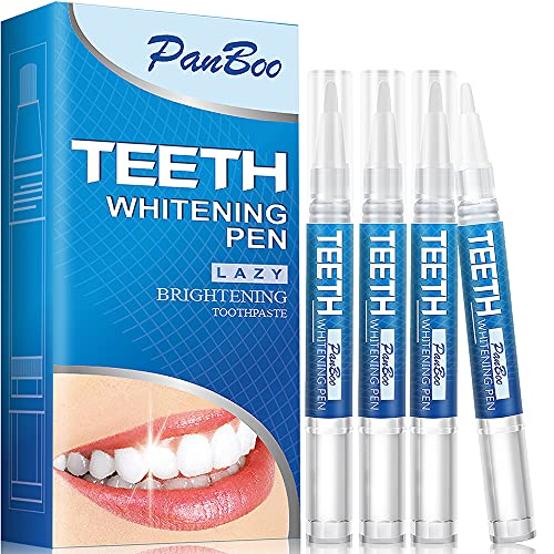 Natural Teeth Whitening Pen with 4x3ml Tooth Whitening Gel Removes Stains Safely,30+ Uses Effective, Painless, No Sensitivity,Travel-Friendly, Easy to Use,Best Effective Tooth Whitener