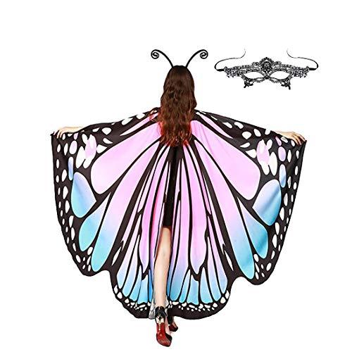 레이스 마스크와 안테나 헤드밴드를 갖춘 칼리덤 나비 날개 케이프 숄 성인 여성 할로윈 의상 액세서리