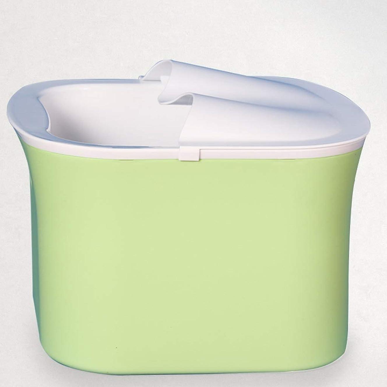 食用特派員盆AMTクリエイティブマッサージ浴槽ふた付きの浴槽のバケツ厚い丈夫な足洗面台プラスチックスパボウル (Color : Green)