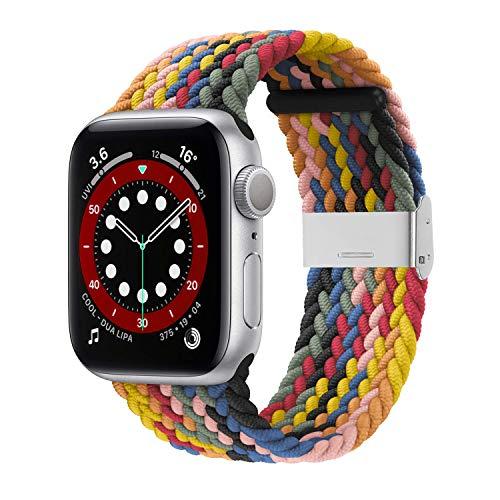 ANCEER Compatibile con Apple Watch iWatch, 42 mm, 44 mm, 40 mm, 38 mm, bracciale sportivo intrecciato regolabile con fibbie per iWatch Serie 6   SE   5 4 3 2 1 e Nessun metallo, colore: arcobaleno