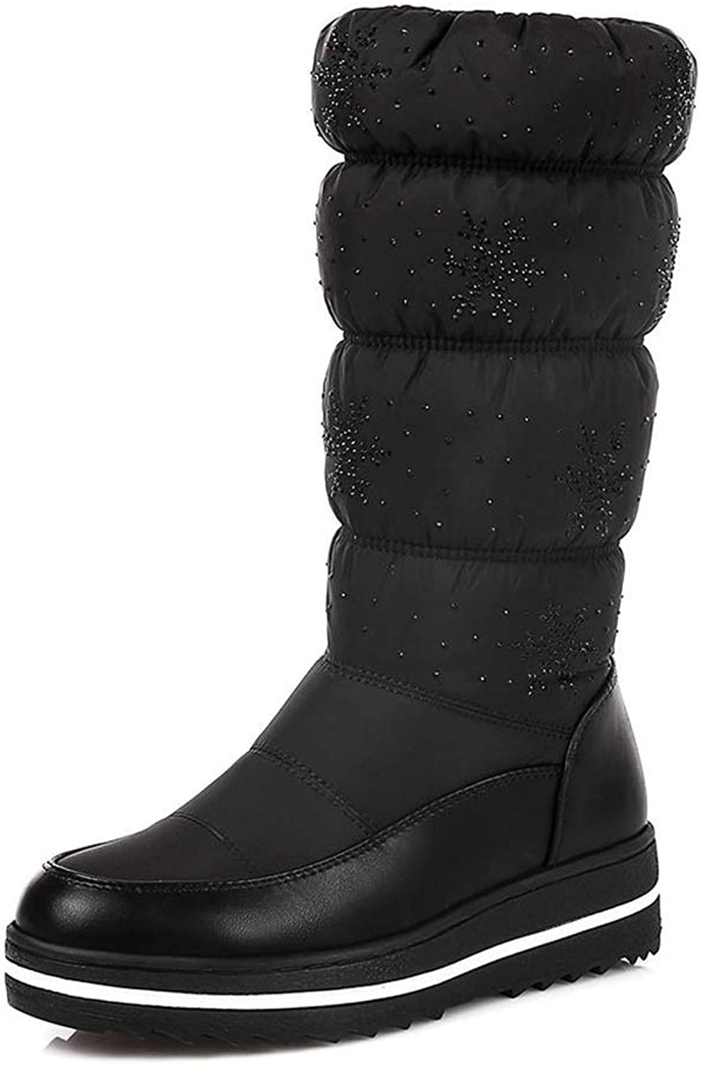 Elegant Winter Snow Boots for Woman Add Plush Warm Mid Calf Waterproof Flat Low Heel Cuff shoes