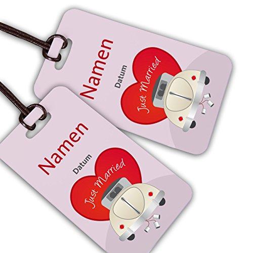 Herz & Heim® Kofferanhänger für Flitterwochen mit Aufrduck der Namen und des Datums