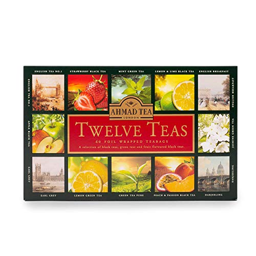 Ahmad Tea Variety Gift Box, 60 Foil Enveloped Teabags, Twelve Teas, 1 Count