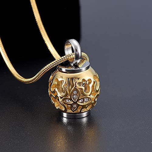 Asche Urne Anhänger Halskette Goldene Laterne Pet Asche Urne Anhänger Edelstahlkugel Memorial Urne Menschlichen Verbrennung Anhänger Für Memorial