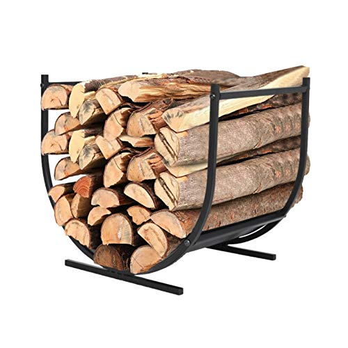 Firewood Rack,Firewood Holder Wood Carrier Metal Basket,Outdoor Indoor Wood Stove Stacking Rack Storage,Firewood Log Hoop Fireplace Tool,Best for Carrying Wood at Home Or Camping (Black)