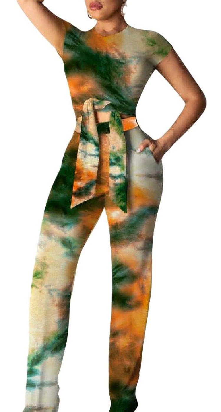 ペインギリック私敷居レディース2ピース衣装は、作物トップルーズロングパンツセットジャンプスーツ