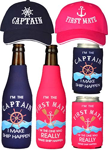 Captain Hats, First Mate Hats, Captain Gifts, First Mate Gifts for Women, Boat Captain Gifts, Gifts for Boaters, Boating Gifts, Boat Captain Gifts, Boating Gifts for Couple, Nautical Sailing Match, Best Gifts For Boaters