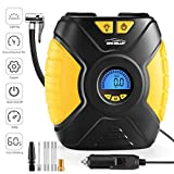 WindGallop Digital Car Tyre Inflator Air Tool Portable Air Compressor Car Tyre Pump Automatic 12V Electric Air Pump Tyre Inflation With Tyre Pressure Gauge Valve Adaptors Led Light