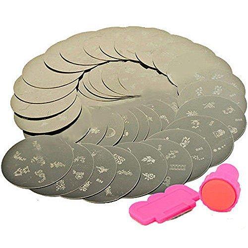 Boolavard® Lot de 10 plaques de stamping en métal pour nail art 70 designs différents Outils de stamping inclus
