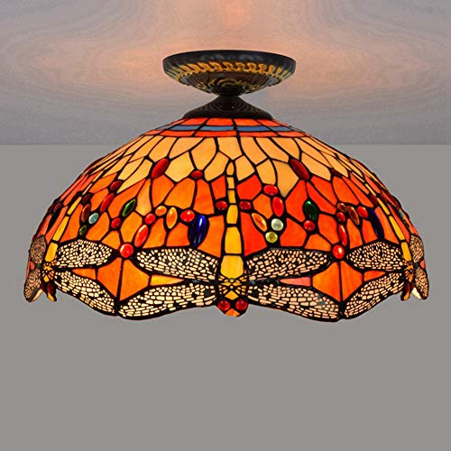GUOGEGE Tiffany plafondlampen, handgemaakte glas in lood libelle stijl plafond lamp Decor woonkamer slaapkamer balkon hal XT091