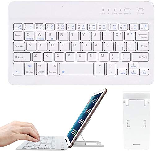 Teclado inalámbrico Bluetooth, Teclado portátil Bamlarate de 7 Pulgadas con batería Recargable y Soporte para iOS, Mac, iPad, Air, Windows, Tableta, Android 3.0 y Sistemas Superiores (Blanco)