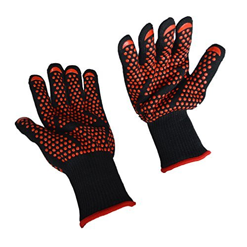 BBQ Grilling Cooking Gloves, Fredhome 932°F Heat Resistant Grill Oven Mitts Safety Gloves - 1 Pair 14 Inch for Extra Forearm Protection with Free Pot Holder (Black/Red)