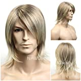 SureWells Medium style Straight Men Wig,Golden Blonde color