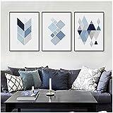 HSFFBHFBH Leinwand Abstrakte Blaue Geometrische Form Kunst
