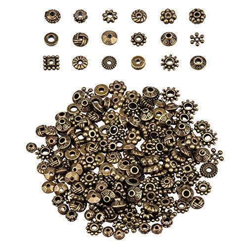 PandaHall Elite - Espaciadores de cuentas de aleación estilo tibetano de 18 formas para pulseras, collares, joyas, bronce antiguo