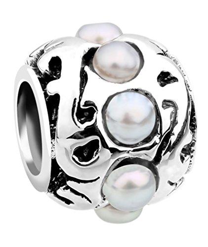 Nenalina Charm Bead in Argento Sterling 925 con Perle d'Acqua Dolce, Compatibile Anche con bracciali Pandora, 718055-042