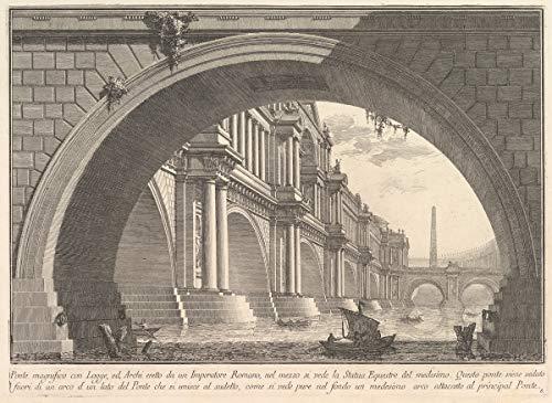 Giovanni Battista Piranesi Giclee Kunstdruckpapier Kunstdruck Kunstwerke Gemälde Reproduktion Poster Drucken(Prächtige Brücke mit Loggien und Bögen, errichtet von einem römischen Kaiser) #XZZ