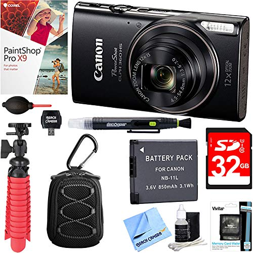 Canon PowerShot ELPH 360 HS Digital Camera (Black) + 32GB Deluxe Accessory Bundle