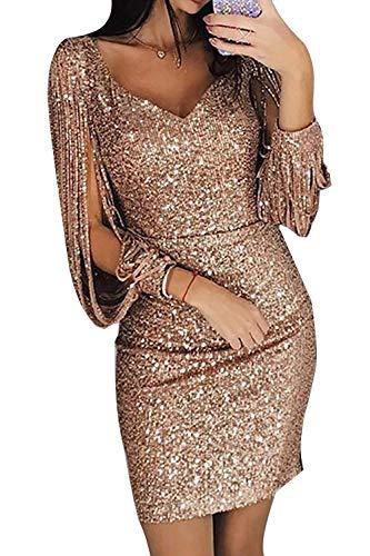Avanon Glänzend Partykleid Damen Abendkleider Elegante Festliches Kleid Fransen Langarm V-Ausschnitt Sexy Cocktailkleid für Hochzeit Paillettenkleid (Gold, L)