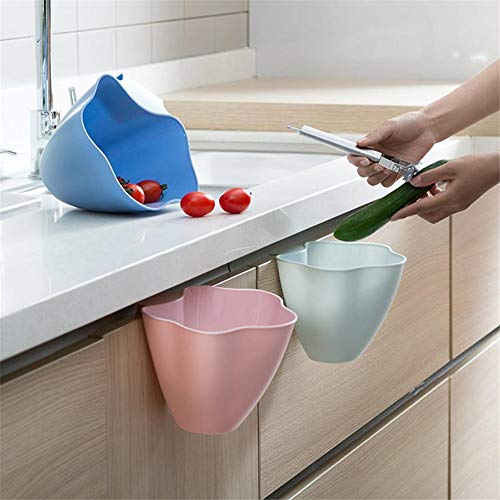 Hanging Trash Can for Kitchen Cabinet Door, Trash Bin Small Compact Garbage...
