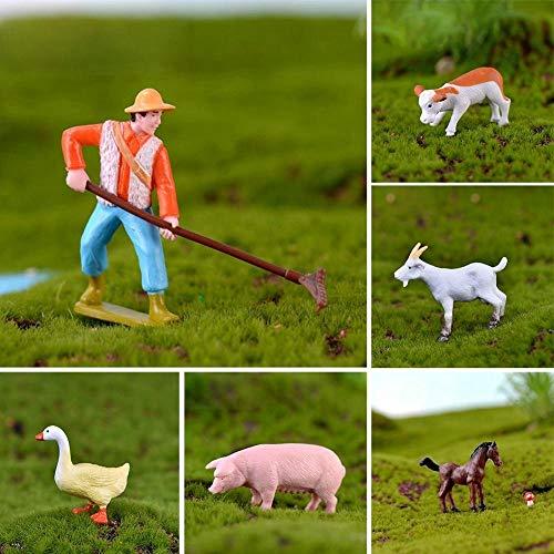 Panin Farmer and Farm Animals Figurines  Realistic Farm Model for Fairy Garden Ornaments Micro Landscape Home Decor Educational Toys(6pcs Set)