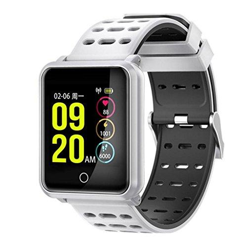YANGFH Smart Armband N88 Herzfrequenz Blutdruck WeChat Informations Telefon Display IP68 Wasserdicht Smartwatch (Color : White)