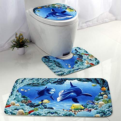 Wwd WC-Vorleger im europäischen und amerikanischen Stil, Unterwasser-Weltdruck, dreiteilig, Anzug jianmeiliao