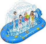 Faburo Splash Pool Sprinkler pool Planschbecken Aufblasbare Wasserspielmatte 170x103x65cm Wassergefüllte Pool für Kinder Baby Rasen im Freien