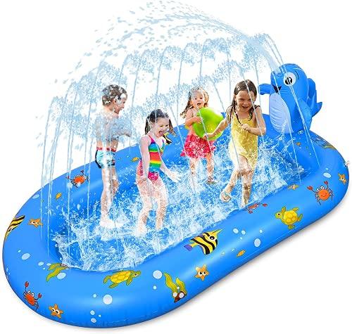 Fabu 170 * 103 * 65CM Splash Pad para Niños Familiares, Tapete de Agua 2 en 1 Chapoteo Almohadilla de Aspersión Jardín de Verano Juguete para Niños Engrosamiento de PVC