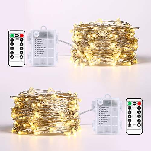Sooair Stringa Luci LED, 10M 100 LED Stringa Luci  Natale Impermeabile per Interni Stringa Luci LED Filo Rame per Festa,Matrimonio, Bricolage, Natale Luci Natale Esterno Tenda (Bianco Caldo)