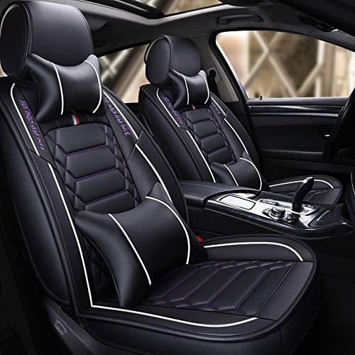JDWBT DaFei Autositzbezüge Set, 5-Sitzer-Komplettset Universell Kompatible Airbags Vorne Und Hinten Atmungsaktives Leder-Komfortschutzkissen (Color : White)