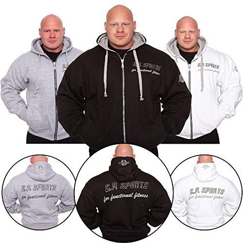 C.P.Sports jack met capuchon - kleur: wit/zwart/grijs - bodybuilding pullover - hoodie sweatshirt, capuchonpullover, trainingskleding, Full Zip Hooded