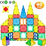 WHIRLT Magnetic Blocks, 40 PCS Magnetic Tiles Building Blocks Toys Set for Kids Preschool Educational Magnet Construction Magnetic Toys for Boys Girls Age 3 4 5 6 7 8 Year Old