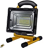 Foco LED a batería, Foco LED construcción portátil, 100W 56 LED 8000 lúmenes, Foco construcción con luz trabajo...