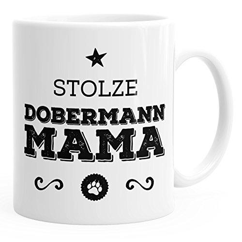 MoonWorks Kaffee-Tasse Stolze Dobermann Mama Dobermann Besitzerin Hundebesitzerin weiß Unisize
