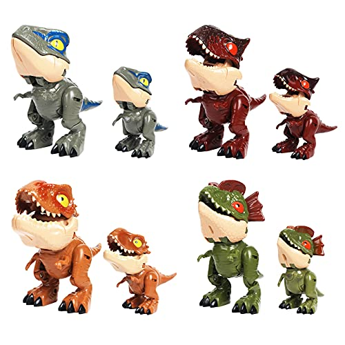 QLT Dinosaur Toys for Kids 3-5,4PCS Jurassic Dinosaurs Transformers Robot Toys,Head and Torso Transforming,Dilophosaurus,T Rex,Velociraptor,Spinosaurus,Transformers Toy Action Figures