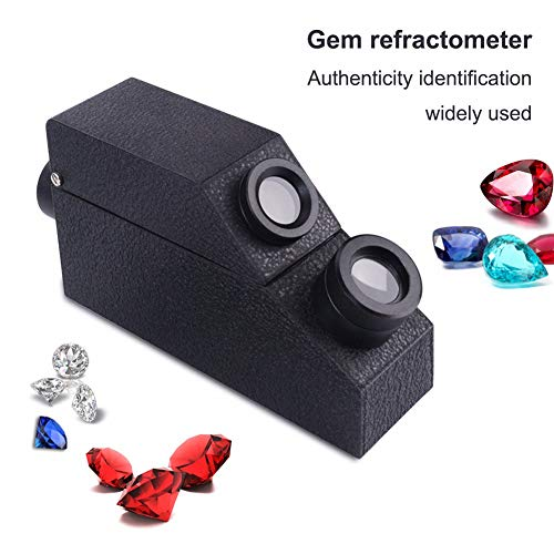 Huanyu Gem Refraktometer Schmuck-Test-Werkzeug, Gemologischer Detektor mit Refraktionsöl, Warmlichtquelle, minimaler Teilungswert: 0,01 RI, Messbereich: 1,30~1,81RI