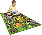 Car Rug Play Mat - Kids Carpet Playmat - Road Rug for Toy Cars - Large 60' x 32' Toy Car Rug for City Life Road Traffic Educational, Learn & Have Fun Safe, Best Road Carpet for Playroom & Kid Bedroom