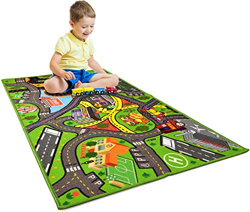 """Car Rug Play Mat - Kids Carpet Playmat - Road Rug for Toy Cars - Large 60"""" x 32"""" Toy Car Rug for City Life Road Traffic Educational, Learn & Have Fun Safe, Best Road Carpet for Playroom & Kid Bedroom"""