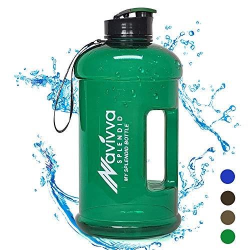 NAVIVVA SPLENDID Sport Trinkflasche Groß - 2.2 L Fitness Wasserflasche - Große XXL Sportflasche - Gym Water Bottle - BPA Frei - Easy Drink Cap – Spülmaschinenfest (Grün)