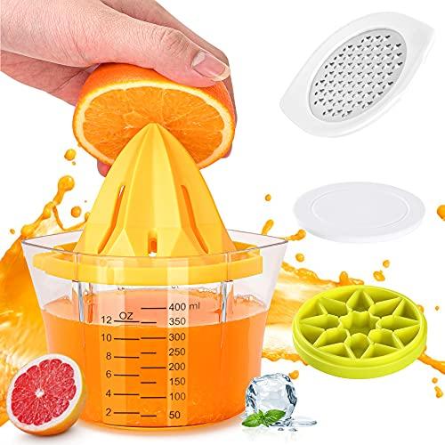 juicer lemons Lemon Squeezer Manual Juicer, 5 in 1 Multi-Function Citrus Juicer, 1Easylife Lime Orange Juicer with Measuring Cup, Grater, Anti-Slip Reamer and Ice Tray, Fresh Fruit Juice Press for Bar, Kitchen