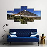 Cuadro en Lienzo Impresión de 5 Piezas Impresión Artística Imagen Gráfica Decoracion de Pared Moderno Pico nevado Teide Enmarcado