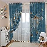 CLZLH 2 Paneles Cortinas De Dormitorio Moderno 3D Azul, Mapa Del Mundo, Globo Aerostático Patrón Cortinas Opacas Para Ventanas Salon Con Ojales, Cortinas Termicas Aislantes Frio Y Calor 100X160cm(An X
