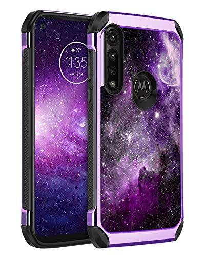 BENTOBEN Moto G Power Case (2020), Glow in The Dark Slim Shockproof 2 in 1 Hybrid Hard PC Soft TPU Bumper Dual Layer Rugged Protective Cases Cover for Motorola Moto G Power, Purple Galaxy
