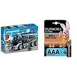 Playmobil - City Action Vehículo con luz LED y Módulo de Sonido, a Partir de 5 Años (9360) + Duracell Ultra AAA con Powerchek, Pilas Alcalinas , Paquete de 4, 1,5 Voltios LR03 MX2400