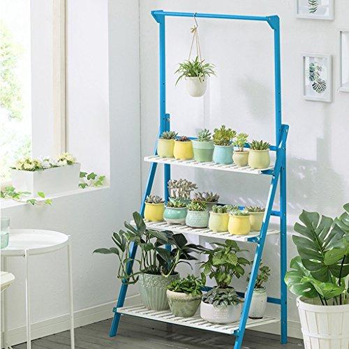Yu Chuang Xin Fleur cadre rétro style cour suspendus bambou salon intérieur et extérieur solide bois multi-couche pliante fleur stand présentoir étagère (taille: 50 * 40 * 96cm) bleu