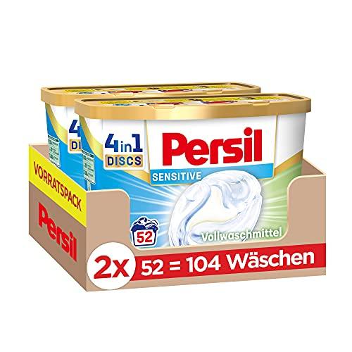 Persil Sensitive 4in1 DISCS (104 Waschladungen), ECARF-zertifiziertes Sensitive Waschmittel für Allergiker und sensible Haut mit dem Duft nach Aloe Vera, 20 °C bis 95 °C