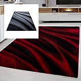Ayyildiz Teppich modern Designer Wohnzimmer Abstrakt Muster Rot oder Schwarz, Größe:160 x 230 cm, Farbe:Rot